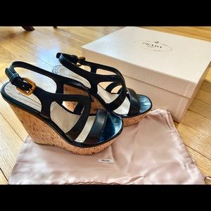 Prada Cork Wedge Sandals